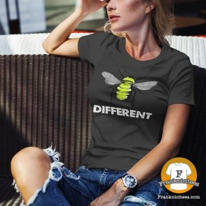 """Woman wearing a """"Bee Different"""" t-shirt"""