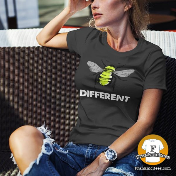 "Woman wearing a ""Bee Different"" t-shirt"