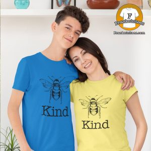 """Mom and Son wearing """"Bee Kind"""" t-shirts"""