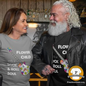 "Man and Women wearing a ""Flower child with a rock-n-roll soul"" t-shirt"