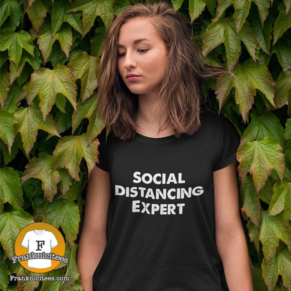 Girl wearing social distancing expert t-shirt
