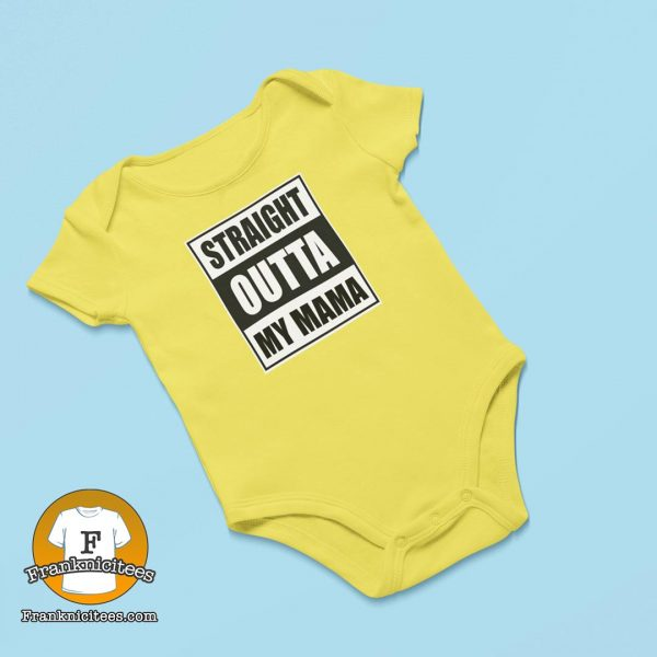"baby onesie with the design ""straight-outta-my-momma"""