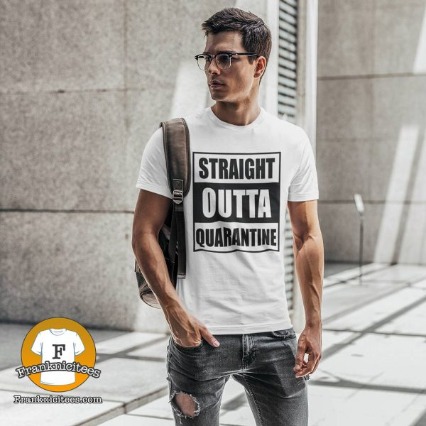 "Guy wearing a t-shirt that says ""straight-outta-quarantine"""