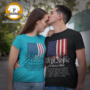Womand and Man wearing a t-shirt with American Flag and We The People