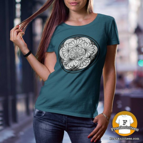 woman wearing a zen petals design t-shirt