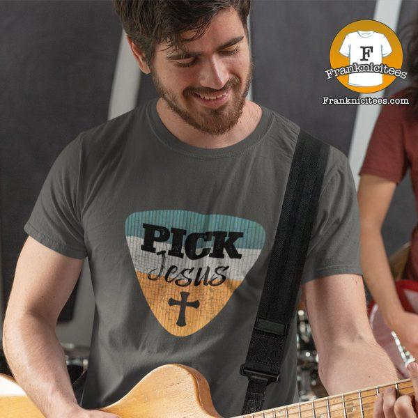 "Man wearing a ""Pick Jesus"" T-shirt"