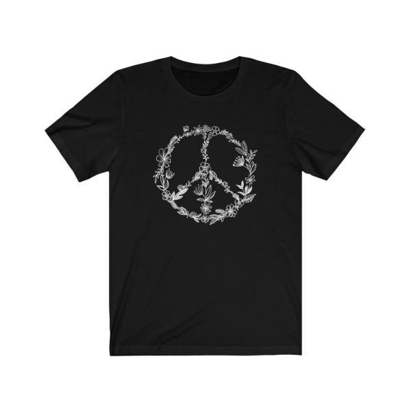 Floral Peace Sign - Hand Drawn - T-shirt   Floral Peace Tee   18102 17