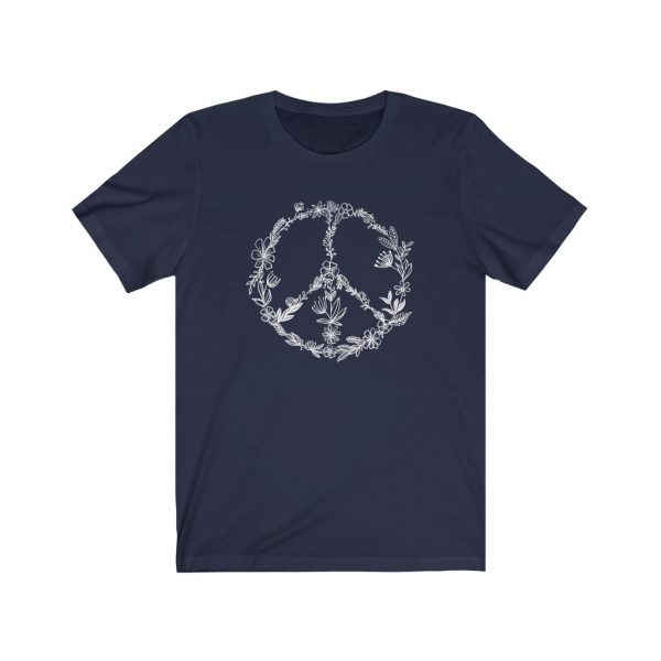 Floral Peace Sign - Hand Drawn - T-shirt   Floral Peace Tee   18398 15