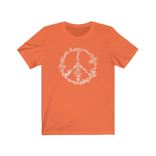 Floral Peace Sign - Hand Drawn - T-shirt   Floral Peace Tee   18422 2