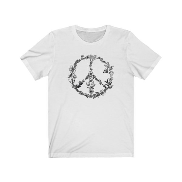 Floral Peace Sign - Hand Drawn - T-shirt | Floral Peace Tee | 18542 15