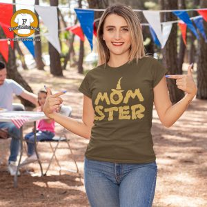 woman wearing a t-shirt with the word Monster