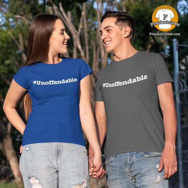 man and woman wearing an Unoffendable t-shirt