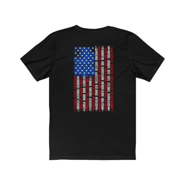 United States Flag T-shirt with the Names of the States | Front and Back Design | 18102 4
