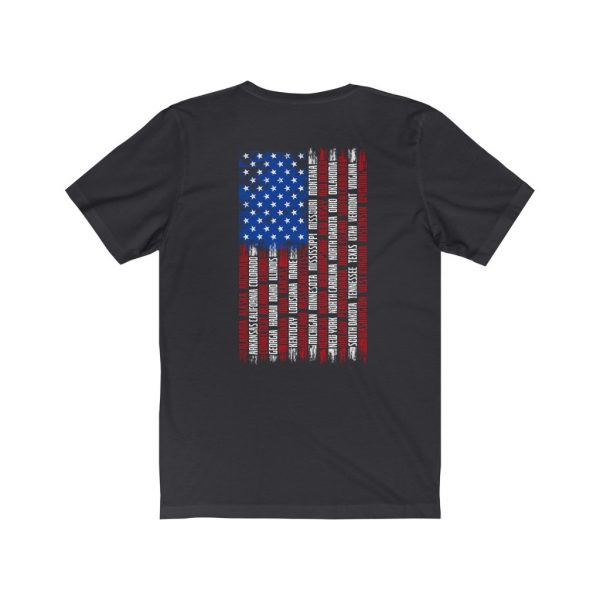 United States Flag T-shirt with the Names of the States | Front and Back Design | 18142 1