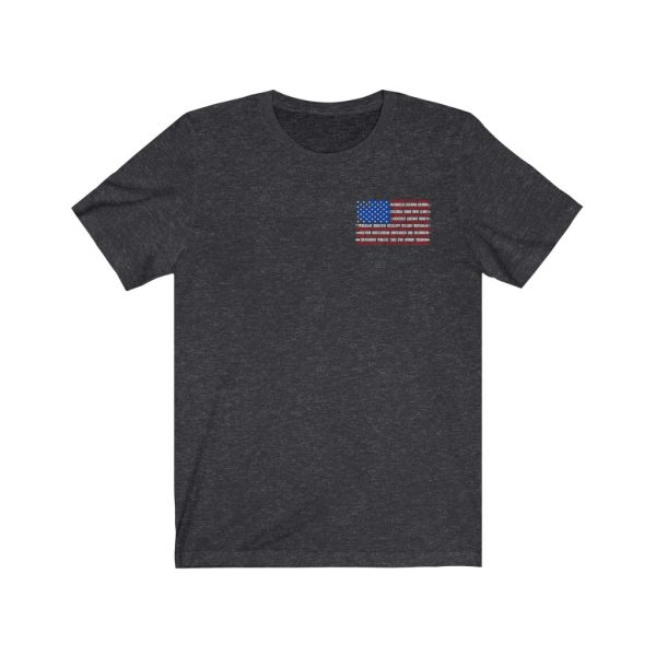 United States Flag T-shirt with the Names of the States | Front and Back Design | 18150
