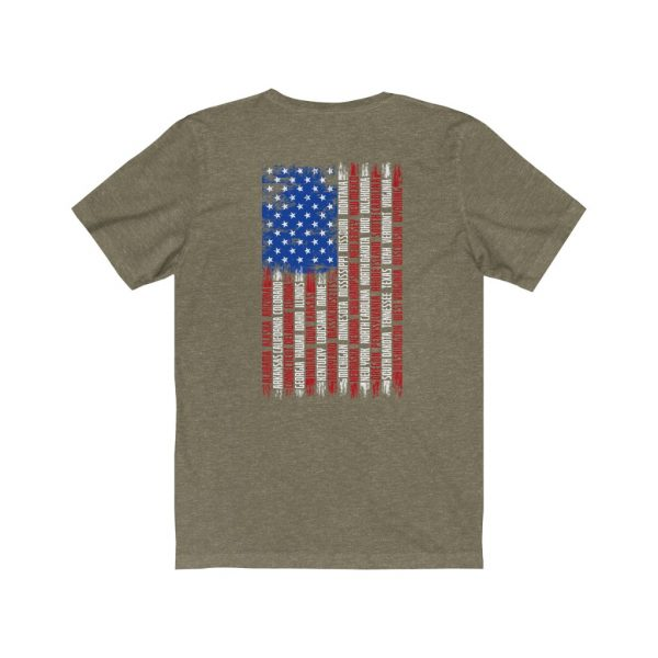 United States Flag T-shirt with the Names of the States | Front and Back Design | 39562 3